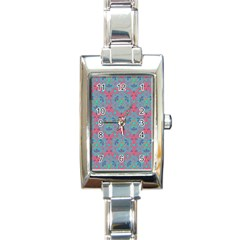 Bereket Pink Blue Rectangle Italian Charm Watch by Cveti