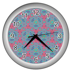 Bereket Pink Blue Wall Clocks (silver)  by Cveti