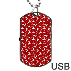Red Reindeers Dog Tag Usb Flash (one Side) by patternstudio