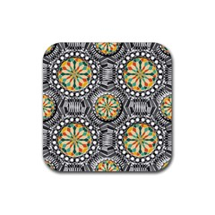 Beveled Geometric Pattern Rubber Coaster (square)  by linceazul