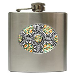 Beveled Geometric Pattern Hip Flask (6 Oz) by linceazul