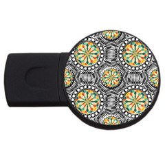Beveled Geometric Pattern Usb Flash Drive Round (2 Gb) by linceazul