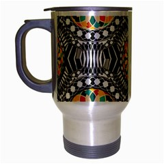 Beveled Geometric Pattern Travel Mug (silver Gray) by linceazul