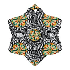 Beveled Geometric Pattern Snowflake Ornament (two Sides) by linceazul