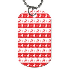 Knitted Red White Reindeers Dog Tag (two Sides) by patternstudio