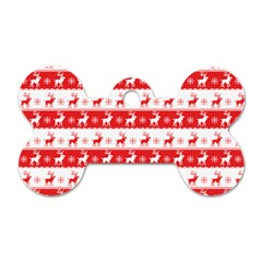 Knitted Red White Reindeers Dog Tag Bone (one Side) by patternstudio