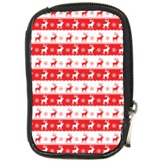 Knitted Red White Reindeers Compact Camera Cases by patternstudio