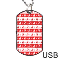Knitted Red White Reindeers Dog Tag Usb Flash (two Sides) by patternstudio