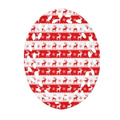 Knitted Red White Reindeers Ornament (oval Filigree) by patternstudio