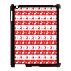 Knitted Red White Reindeers Apple Ipad 3/4 Case (black) by patternstudio