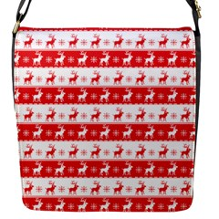 Knitted Red White Reindeers Flap Messenger Bag (s) by patternstudio