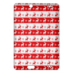Knitted Red White Reindeers Amazon Kindle Fire Hd (2013) Hardshell Case by patternstudio