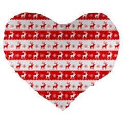 Knitted Red White Reindeers Large 19  Premium Flano Heart Shape Cushions by patternstudio