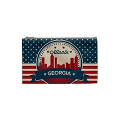 Retro Atlanta Georgia Skyline Cosmetic Bag (small)  by allthingseveryday