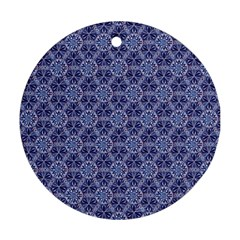 Crystals Pattern Blue Round Ornament (two Sides) by Cveti
