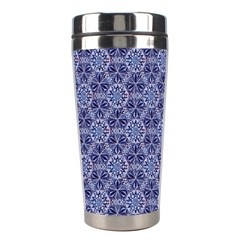 Crystals Pattern Blue Stainless Steel Travel Tumblers by Cveti