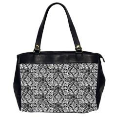 Kaleidoscope Black White Pattern Office Handbags (2 Sides)  by Cveti