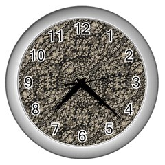 Animal Print Camo Pattern Wall Clocks (silver)  by dflcprints