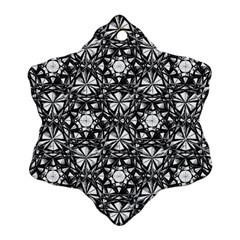 Star Crystal Black White Pattern Snowflake Ornament (two Sides) by Cveti