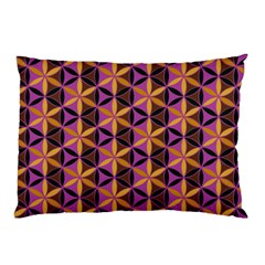 Flower Of Life Purple Gold Pillow Case by Cveti