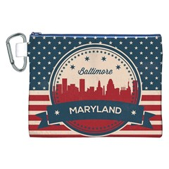 Retro Baltimore Maryland Skyline Canvas Cosmetic Bag (xxl) by allthingseveryday