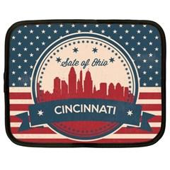 Retro Cincinnati Ohio Skyline Netbook Case (xl)  by allthingseveryday