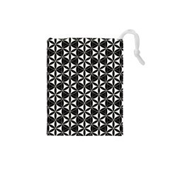 Flower Of Life Pattern Black White Drawstring Pouches (small)  by Cveti