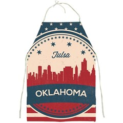 Tulsa Oklahoma Retro Skyline Full Print Aprons by allthingseveryday