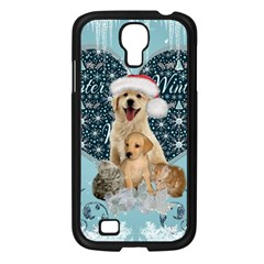 It s Winter And Christmas Time, Cute Kitten And Dogs Samsung Galaxy S4 I9500/ I9505 Case (black) by FantasyWorld7