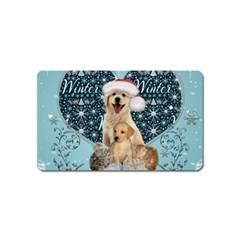 It s Winter And Christmas Time, Cute Kitten And Dogs Magnet (name Card) by FantasyWorld7