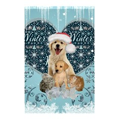It s Winter And Christmas Time, Cute Kitten And Dogs Shower Curtain 48  X 72  (small)  by FantasyWorld7