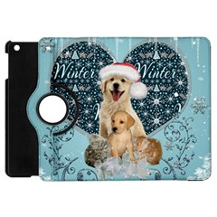 It s Winter And Christmas Time, Cute Kitten And Dogs Apple Ipad Mini Flip 360 Case by FantasyWorld7