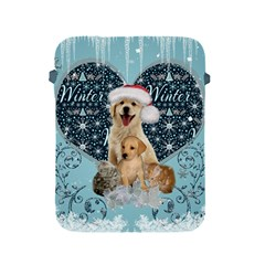 It s Winter And Christmas Time, Cute Kitten And Dogs Apple Ipad 2/3/4 Protective Soft Cases by FantasyWorld7
