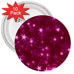 Blurry Stars Pink 3  Buttons (10 Pack)  by MoreColorsinLife