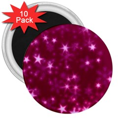 Blurry Stars Pink 3  Magnets (10 Pack)  by MoreColorsinLife