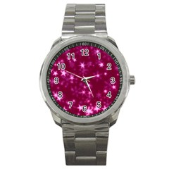 Blurry Stars Pink Sport Metal Watch by MoreColorsinLife