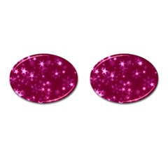 Blurry Stars Pink Cufflinks (oval) by MoreColorsinLife