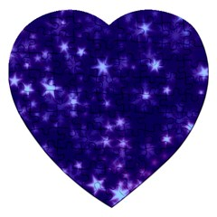 Blurry Stars Blue Jigsaw Puzzle (heart) by MoreColorsinLife