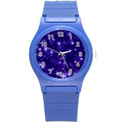 Blurry Stars Blue Round Plastic Sport Watch (s) by MoreColorsinLife