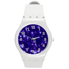 Blurry Stars Blue Round Plastic Sport Watch (m) by MoreColorsinLife