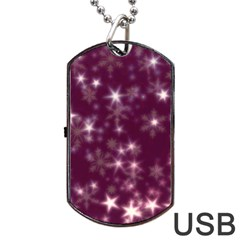 Blurry Stars Plum Dog Tag Usb Flash (two Sides) by MoreColorsinLife