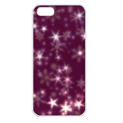 Blurry Stars Plum Apple Iphone 5 Seamless Case (white) by MoreColorsinLife