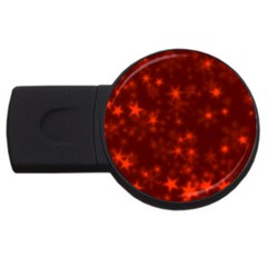 Blurry Stars Red Usb Flash Drive Round (2 Gb) by MoreColorsinLife