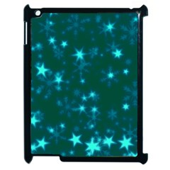 Blurry Stars Teal Apple Ipad 2 Case (black) by MoreColorsinLife