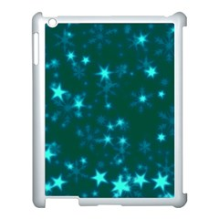 Blurry Stars Teal Apple Ipad 3/4 Case (white) by MoreColorsinLife