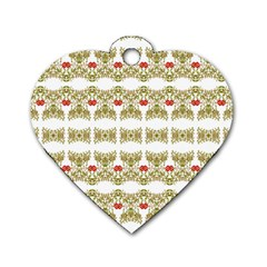 Striped Ornate Floral Print Dog Tag Heart (one Side) by dflcprints