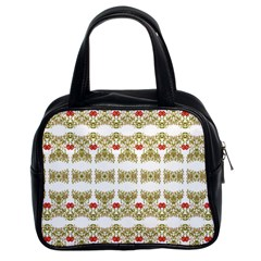 Striped Ornate Floral Print Classic Handbags (2 Sides) by dflcprints
