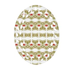 Striped Ornate Floral Print Oval Filigree Ornament (two Sides) by dflcprints