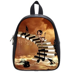 Cute Little Girl Dancing On A Piano School Bag (small) by FantasyWorld7