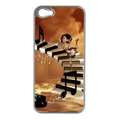 Cute Little Girl Dancing On A Piano Apple Iphone 5 Case (silver) by FantasyWorld7